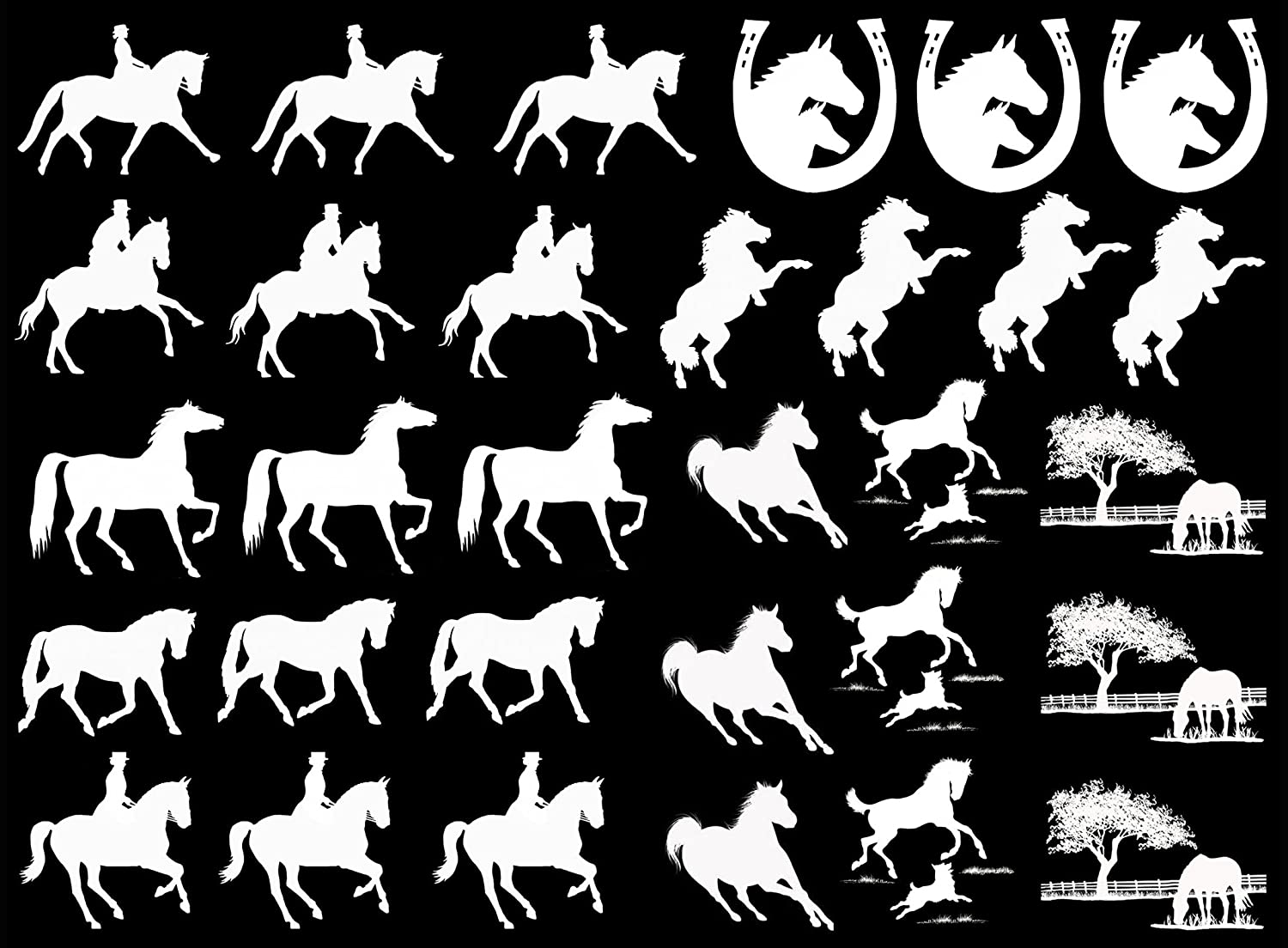 Horse Play 1' to 1-1/4' - White 16CC586 Fused Glass Decals Must be kiln fired Captive Decals