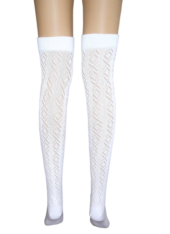 JHosiery Medias algodón pointelle blanco damas alta del muslo (1 par ...