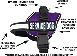 Doggie Stylz Dog Harness No Pull Service Dog Vest 2 Reflective Removable Dog Tag Patches Hook and Loop Straps and Handle for Comfort - 6 Sizes from XXS for Small Dogs to XXL Harness for Large Dogs