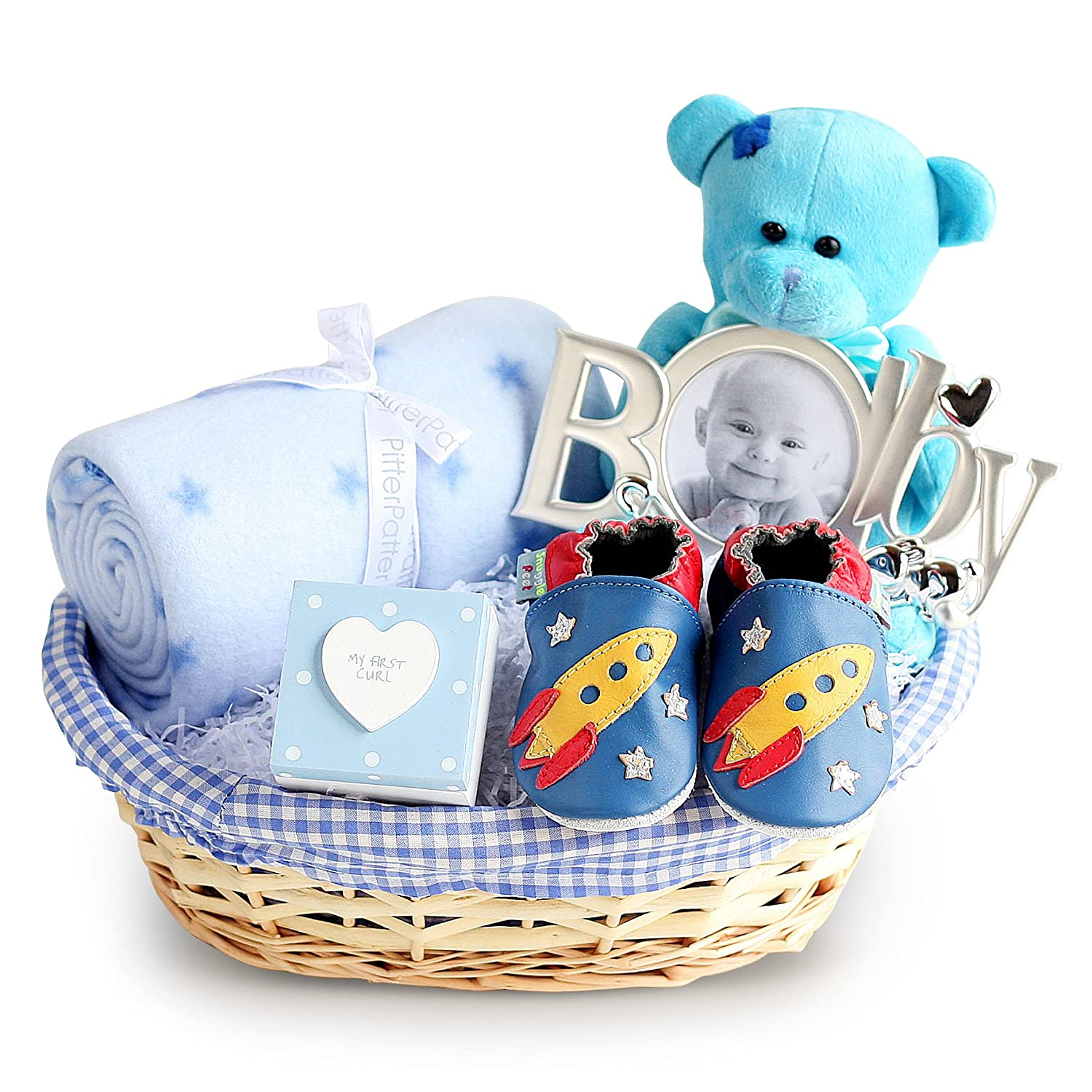 0f42c8ca5d47 Deluxe Boy New Baby Gift Basket, Newborn Baby Hamper, Baby Shower Ideas,  Christening Gifts, Maternity Presents: Amazon.co.uk: Baby