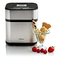 Sensio Home Digital Ice Cream Maker – Gelato Sorbet and Frozen Yoghurt Machine with Detachable Mixing Paddle – Digital Timer and LCD Display – Icecream Recipe Included - 1.5 Litre – Stainless Steel / Black