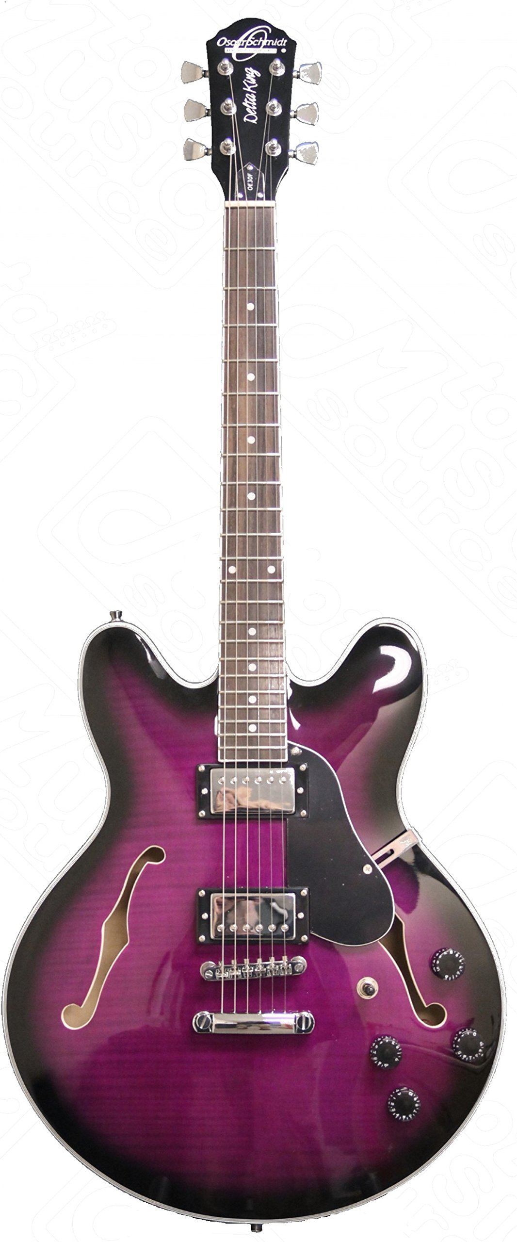 OE30 Purple Burst Oscar Schmidt Semi-Hollow Body Electric Guitar by Washburn, Ebony, Grover Tuners by Oscar Schmidt