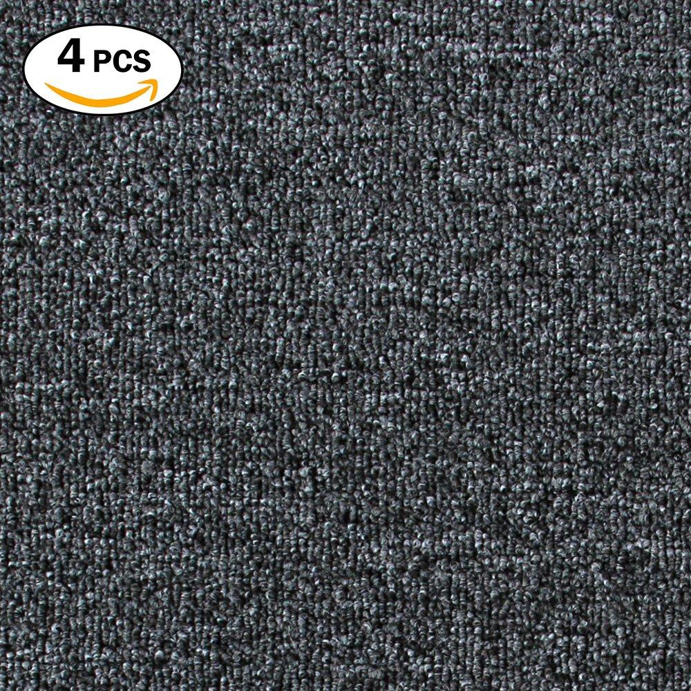 Commercial Carpet Tile, DIY Ribbed Carpet Floor Tiles for Residential Living Room, Flooring, Garage, Basements Carpet Squares for Flooring Use (Dark Grey) KR