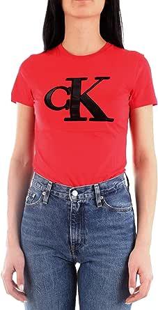 Calvin Klein Jeans Women's CKJ Flock Monogram CK SL XA9 RED WMN TEE, Racing Red, L