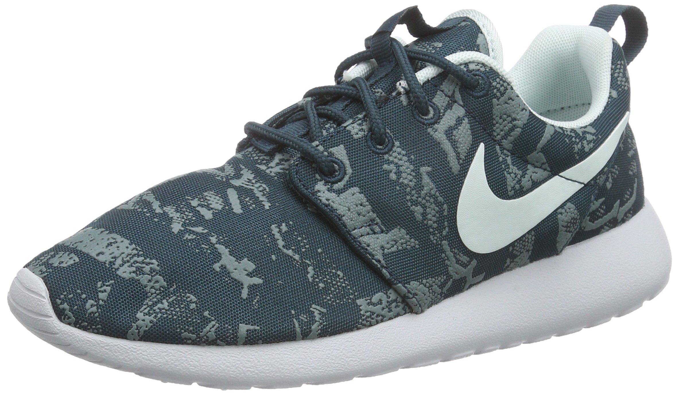 nike womens roshe one print running trainers 599432 sneakers shoes (us 6, midnight teal fiberglass pure platinum 430)