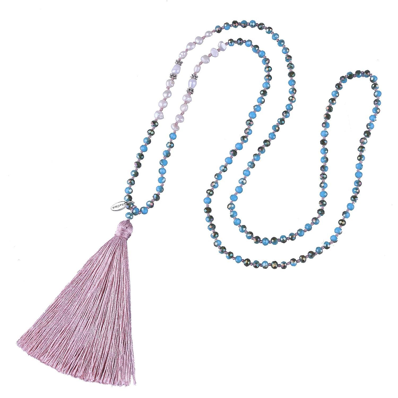 KELITCH Bohemian Simulation-Freshwater-Pearls Crystal Beaded Tassel Necklace Long Y Chain
