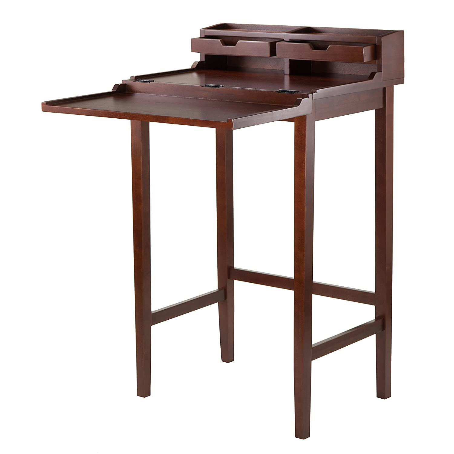 Amazon Com Winsome 94628 Brighton High Desk With 2 Drawer Brown