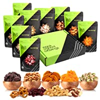 Gourmet Gift Basket, Fresh Nut Mix & Dried Fruit (9 Bags) - Variety Care Package, Birthday Party Food, Holiday Arrangement Platter - Healthy Snack Box for Families, Women, Men, Adults