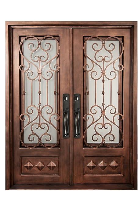 Iron Doors Unlimited Vita Francese 3/4 Lite Heavy Bronze Decorative Wrought  Iron Entry Door