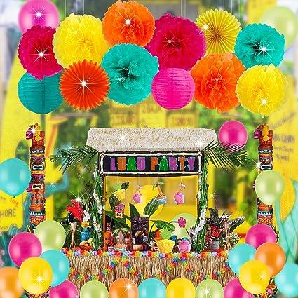 Festive Fiesta Cinco De Mayo Party Supplies Decorations Paper Pom Poms Flowers Fans Lanterns Balloons