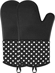 Silicone Oven Mitts, Extra Long Kitchen Oven Gloves, Ovawa Professional Heat Resistant Baking Gloves, 1 Pair, Black