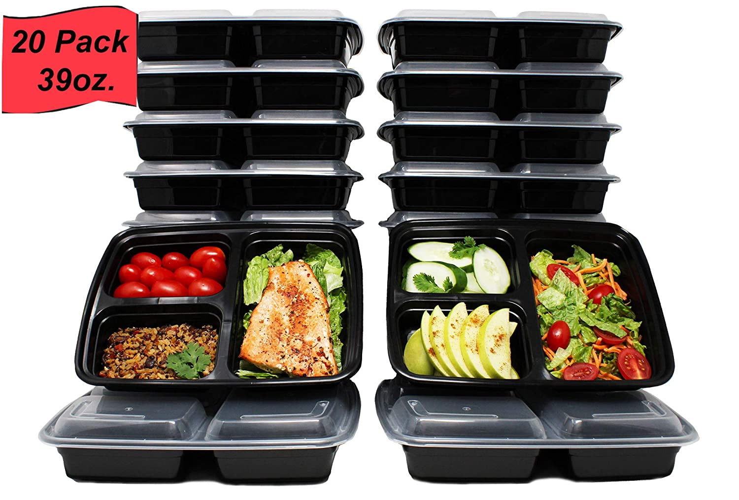 Prep Pro Meal Prep Containers [20 Pack] 39oz 3 Compartment with Lids, Microwave/Freezer/Dishwasher Safe, Reusable/Stackable, BPA Free, Meal Planning, Food Storage, Lunch Bento Box, Portion Control