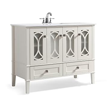 Simpli Home Axcvpaw 42 Paige 42 Inch Bath Vanity In Soft White With