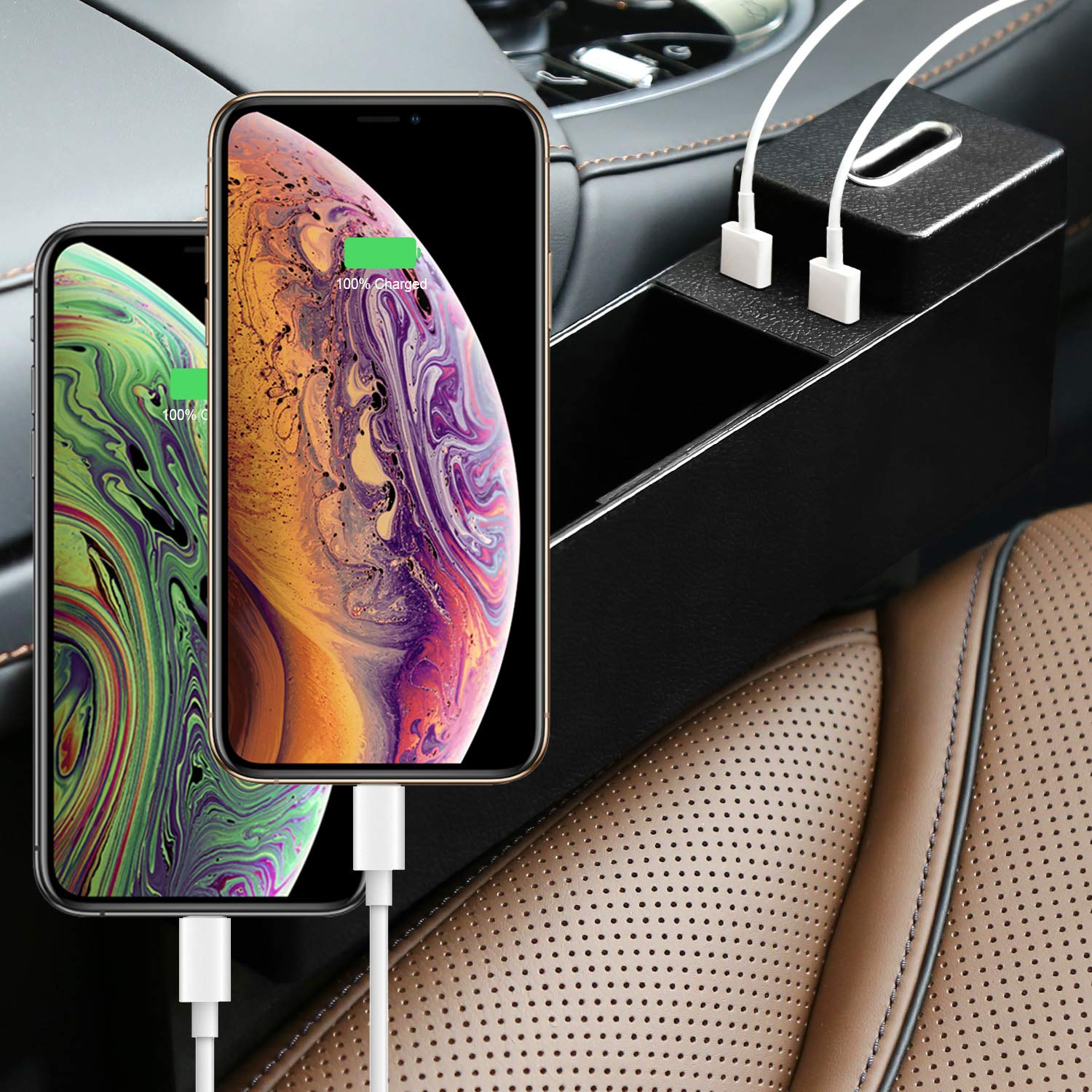AUTMOR Car Gap Filler,Car Gap Organizer,Car Seat Side Pocket,Car Pocket Organizer with Coin Box and 2 USB Charging Hub for Cellphones,Keys,Cards,Wallets,Coins 1 Pack