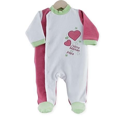 5e8c0cbc69aa0 Kinousses Dors Bien Grenouillère Motif J'aime Maman & Papa pour Bébé Fille  1 mois