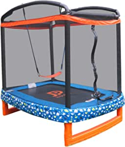 "JUMP POWER 72"""" x 50"""" Rectangle Indoor/Outdoor Trampoline & Safety Net with Swing Combo. for Toddlers & Kids, Blue, Black, Orange, Green, White (JP07-R01-72)"