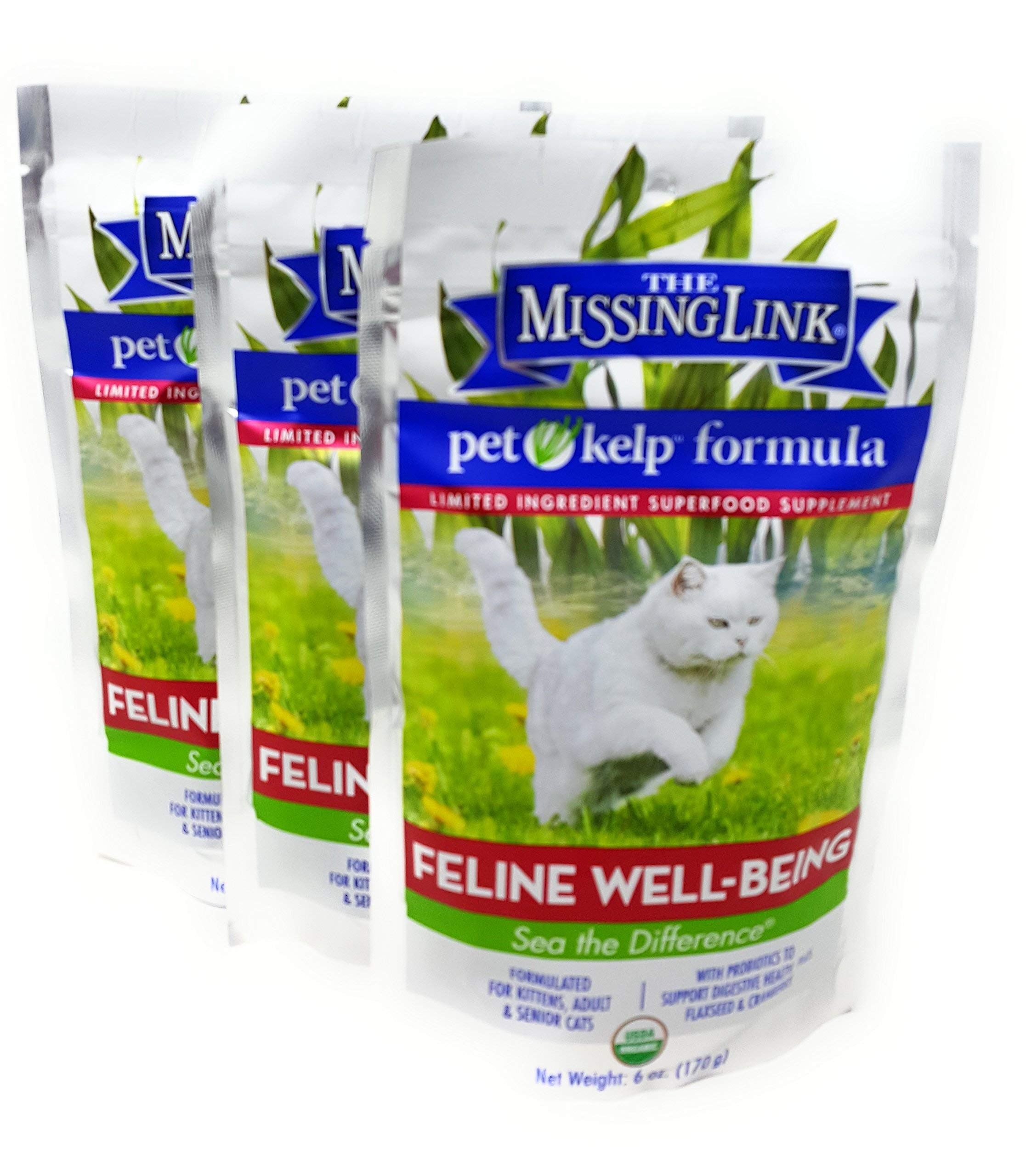The Missing Link Pet Kelp Formula - Feline Well-Being - Limited Ingredient Superfood Supplement For Cats (3 Pack) by Pet Kelp