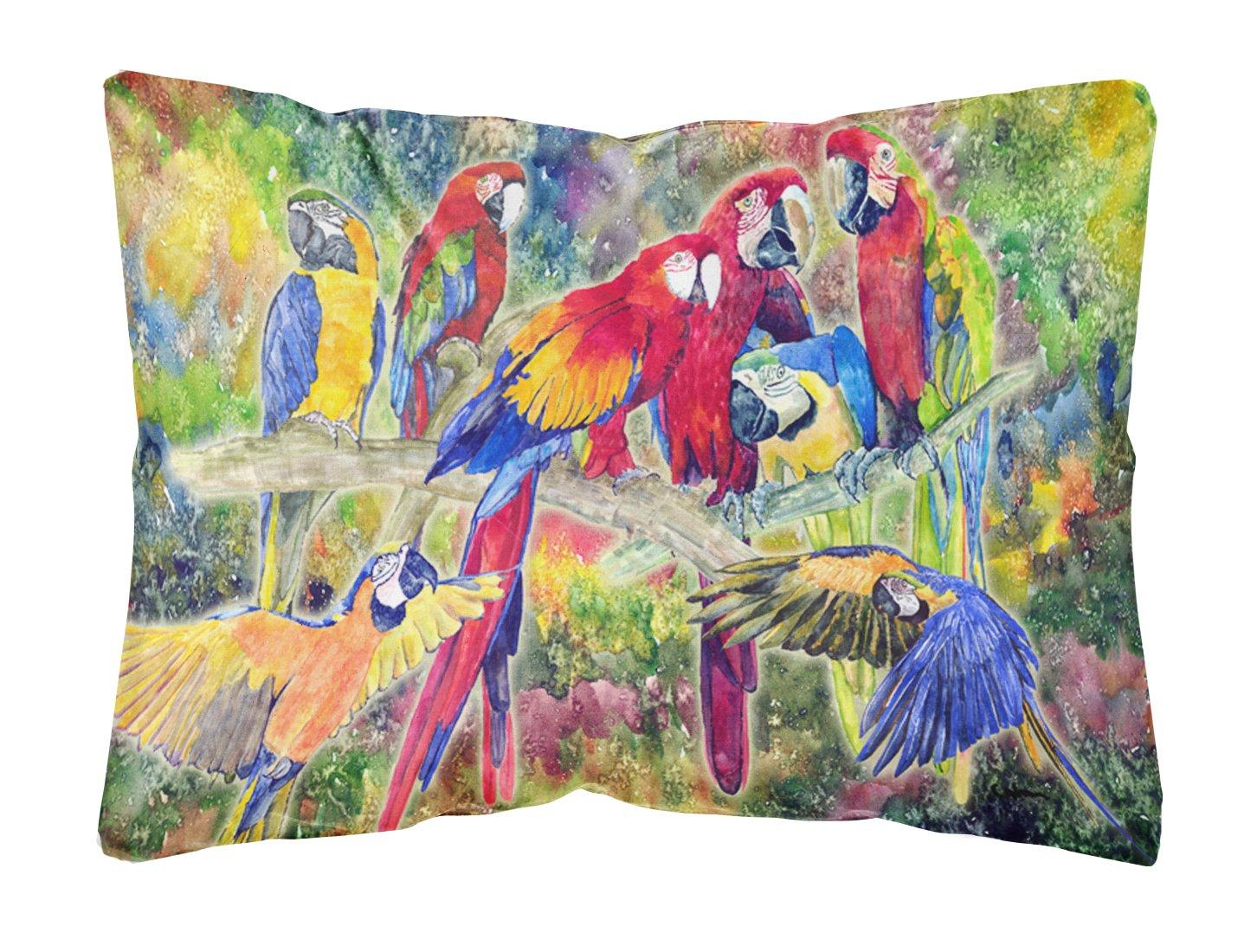 Caroline s Treasures 8600PW1216 Parrot Canvas Fabric Decorative Pillow, Large, Multicolor