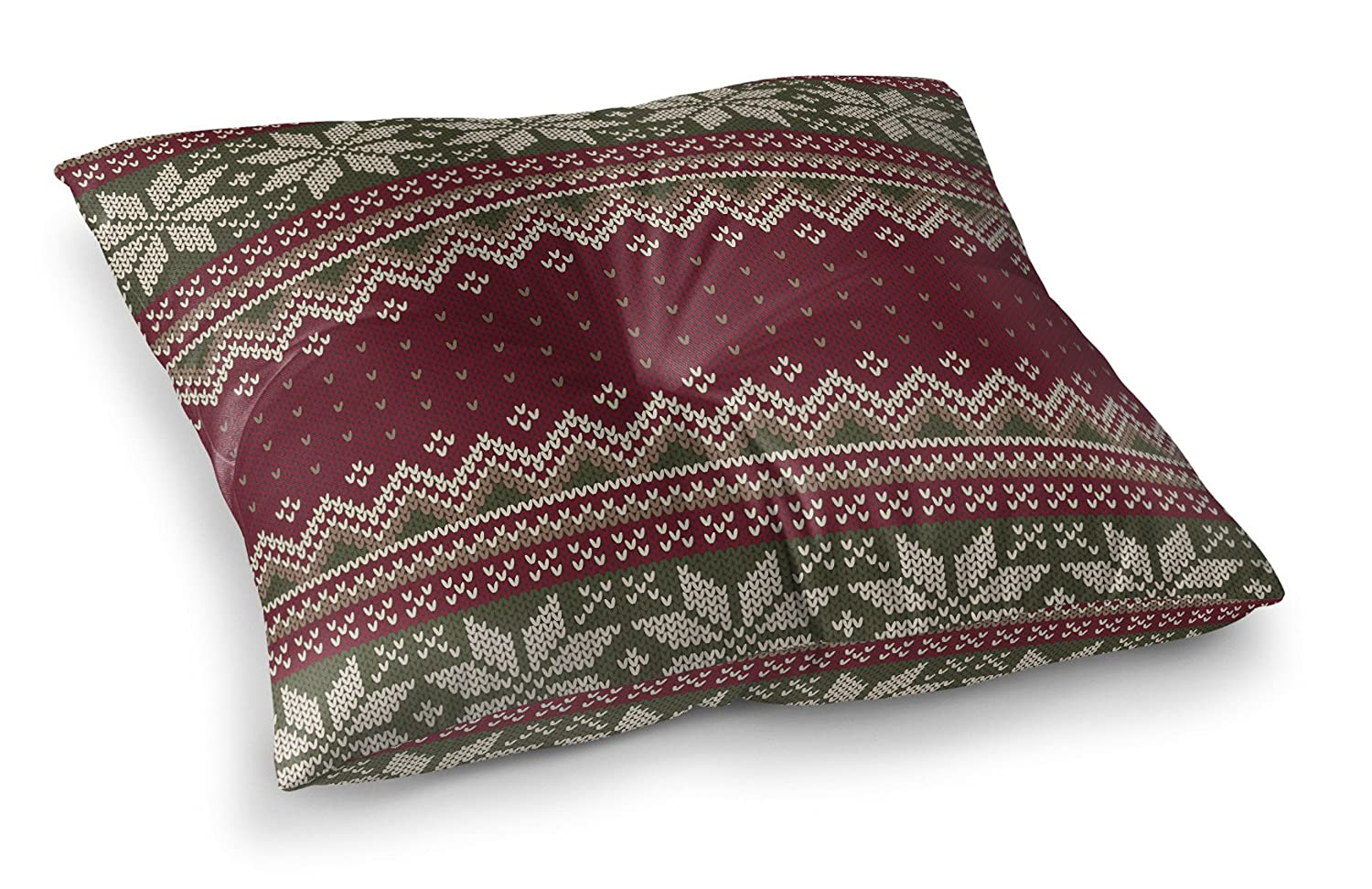 KAVKA Designs Christmas Floor Pillow, (Red/Green/Grey) - TRADITIONS Collection, Size: 26x26x8 - (TELAVC1030FPS26) FPI-FPS26-26X26-TEL1030