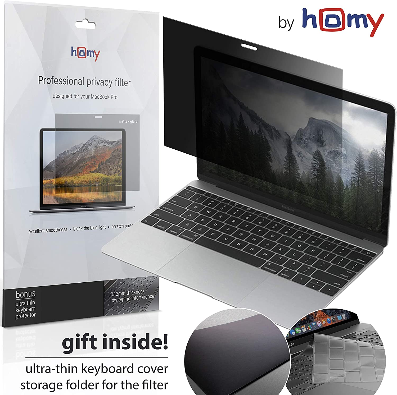 Homy Privacy Screen for MacBook 12 inch, Matte Filter Protect Your Eyes Against Blue Light. Bonus: Keyboard Cover Ultra-Thin TPU and Folder Storage for Protector When Not in Use. Compatible A1534