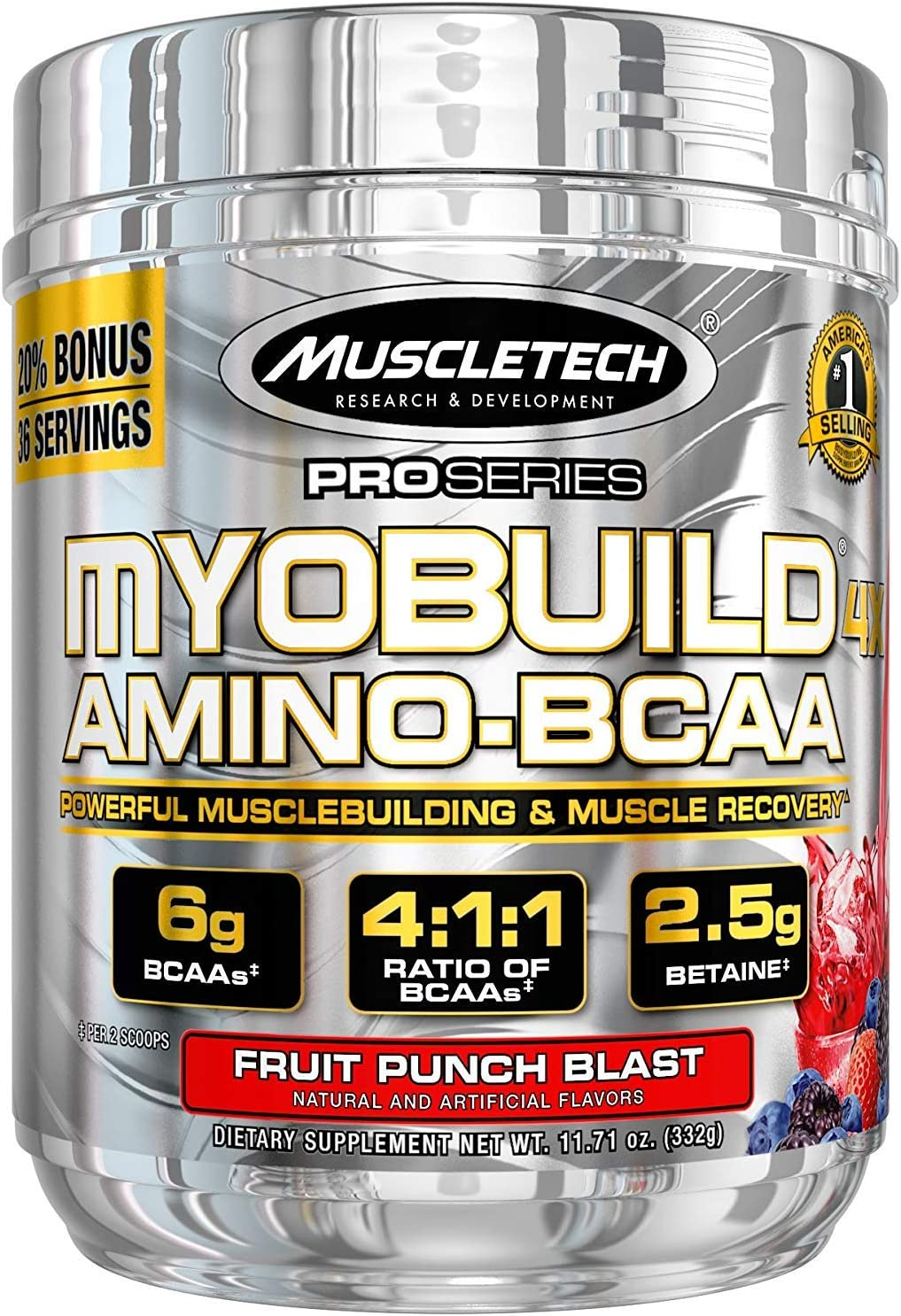 MuscleTech Myobuild BCAA Amino Acids, Muscle Building and Recovery Formula