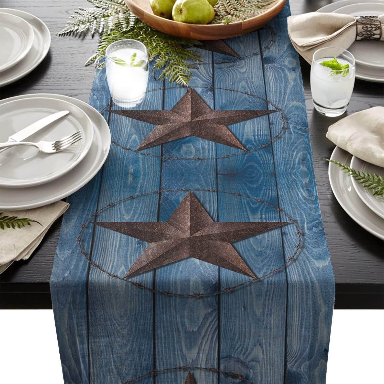 Chic D 13x70inch Table Runner, Western Texas Star Blue Barn Wood Country Cotton Linen Table Setting Decor for Wedding Party Holiday Dinner Home, Machine Washable.