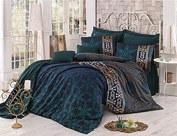 Parure De Lit 3 Pièces Pour Lit Queen Style Rétro Coton Et Lin Vert Doré Satin Indien égyptien Oriental Sultan Vintage Ethnique Africain Moyen Orient
