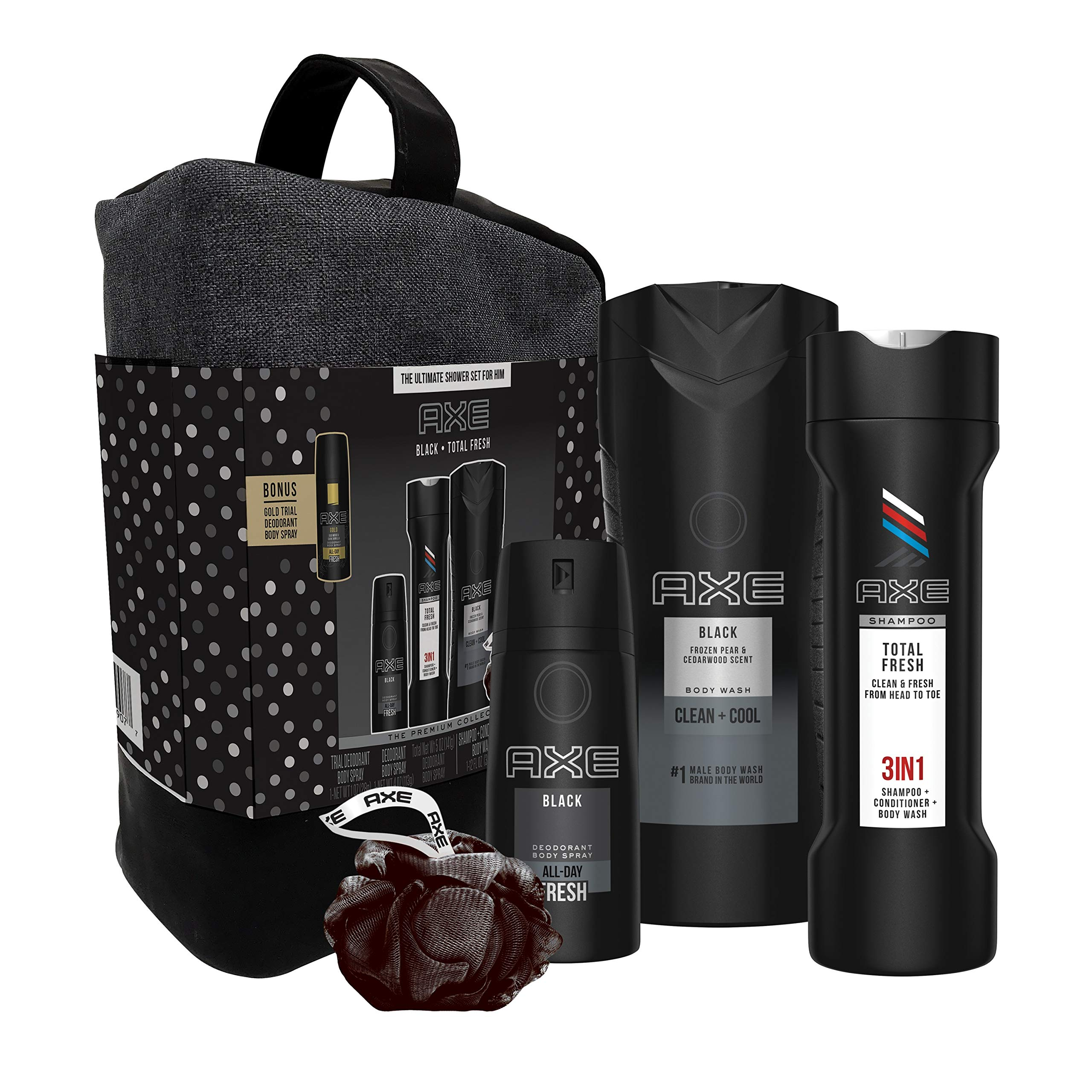 AXE 6-Pc Black & Fresh Shower Gift Set with BONUS Trial Deo Body Spray (Body Spray, Body Wash, 3 in 1 Shampoo + Conditioner + Body Wash, Shower Bag, Pouf) by AXE