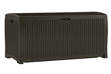 Suncast DBW9200 Mocha Resin Wicker Deck Box, 99 Gallon