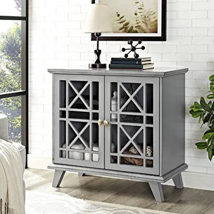 WE Furniture 32u0026quot; Fretwork Accent Console   Gray