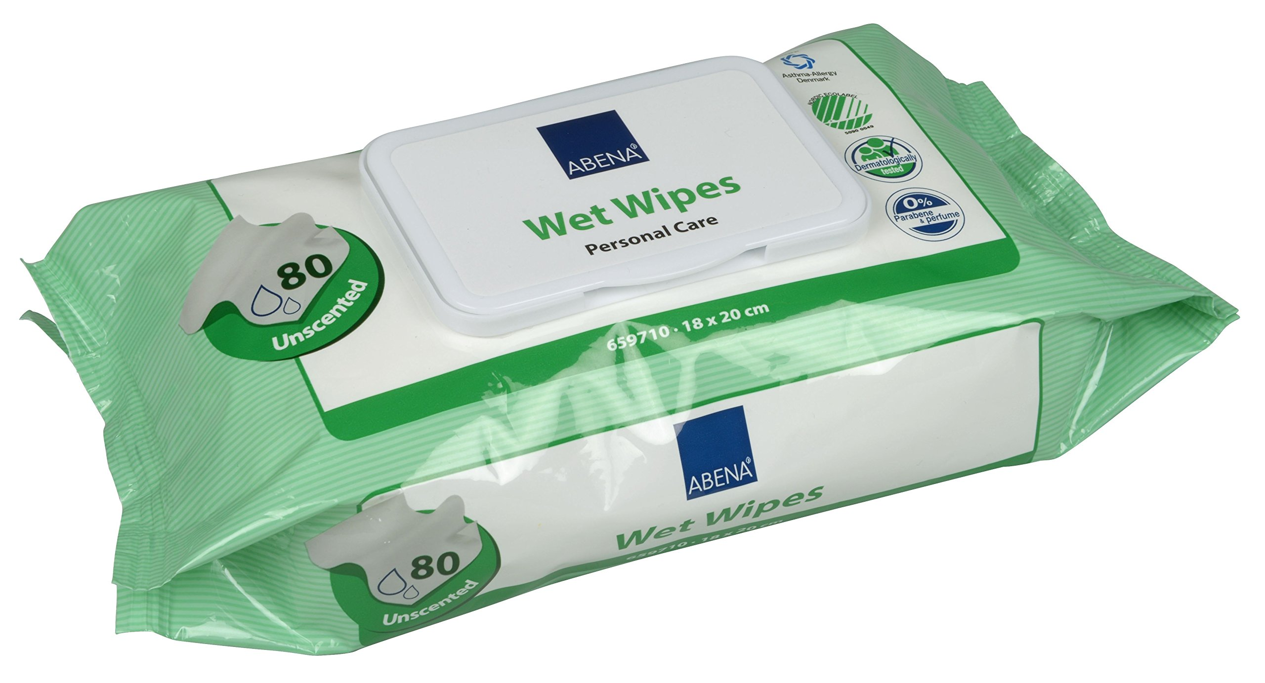 Abena Personal Care Wet Wipes with Lid, Unscented, 18 x 20 cm (80 sheets/pack), 1280 count