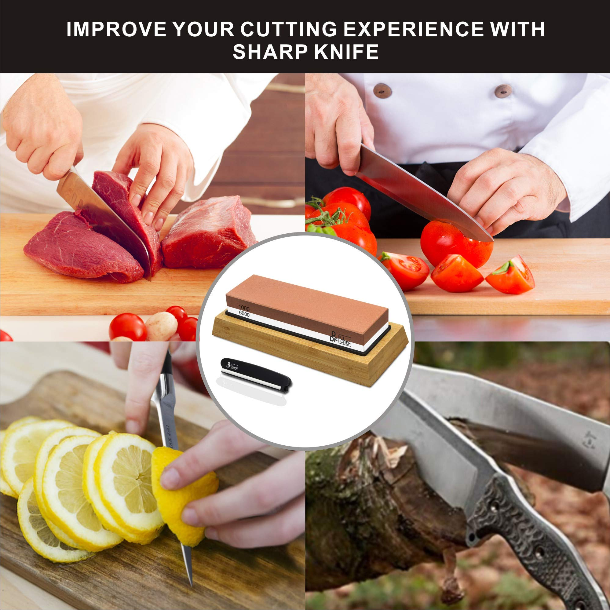 Knife Sharpening Stone, Whetstone Sharpener 1000/6000 2 Sided Grit Non-Slip Bamboo and Silicon Base Angle Guide for Chef Knife,Kitchen Knife,Hunting Knife by DDF iohEF (Image #6)