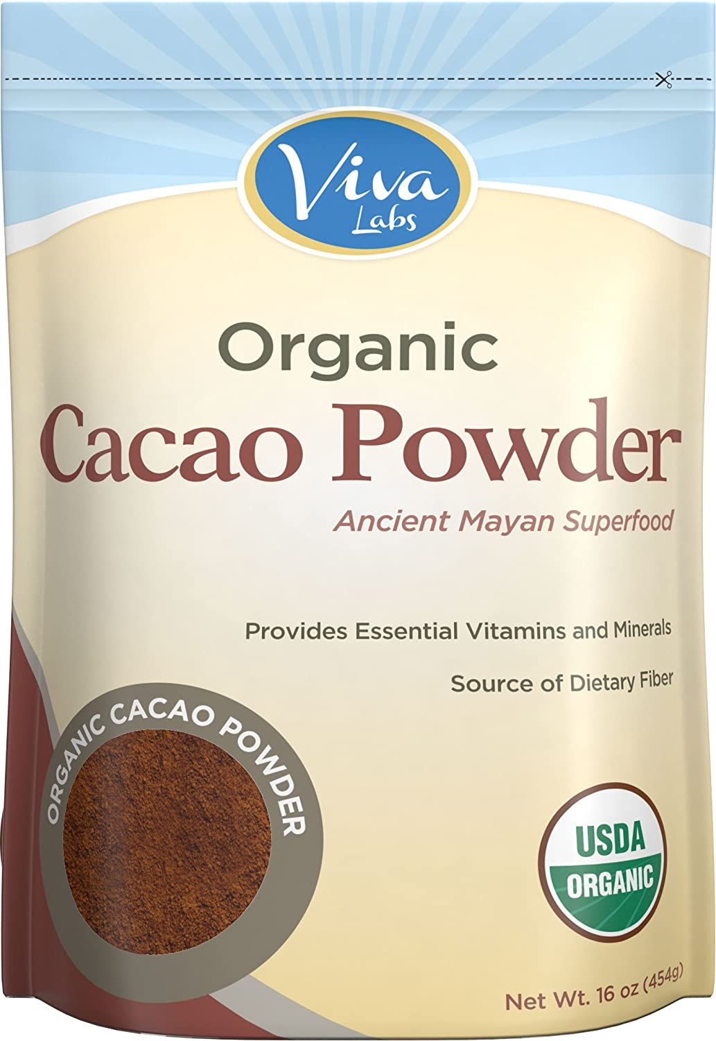 Viva Labs - The BEST Tasting Certified Organic Cacao Powder, 1 LB