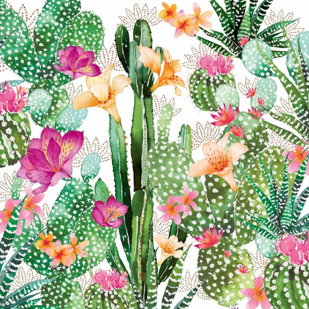 Paperproducts Design PPD 1252712 Cactus Fantasy Beverage/Cocktail Paper Napkins,5''x5'', Multicolor