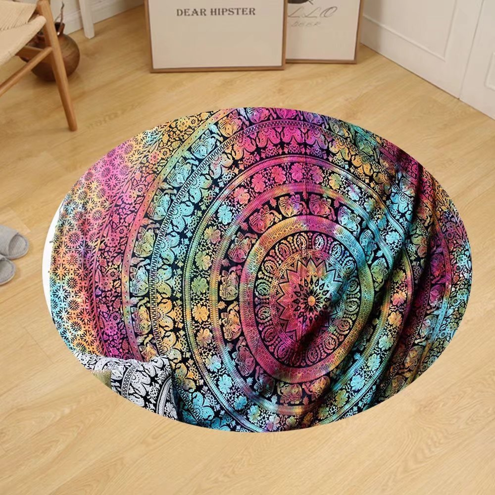 Gzhihine Custom round floor mat New launched Popular Twin tye dye Hippie Elephant Mandala Indian Traditional Beach Throw Art College Dorm Bohemian Boho Twin Bedspread By Popular Handicrafts