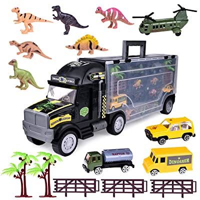 "Fun Little Toys Dinosaur Truck Tractor Trailer Toy 22"" with 6 Mini Plastic Dinosaurs and 4 Diecast Cars, Big Truck Carrier, Birthday Gift for Boys, Girls"