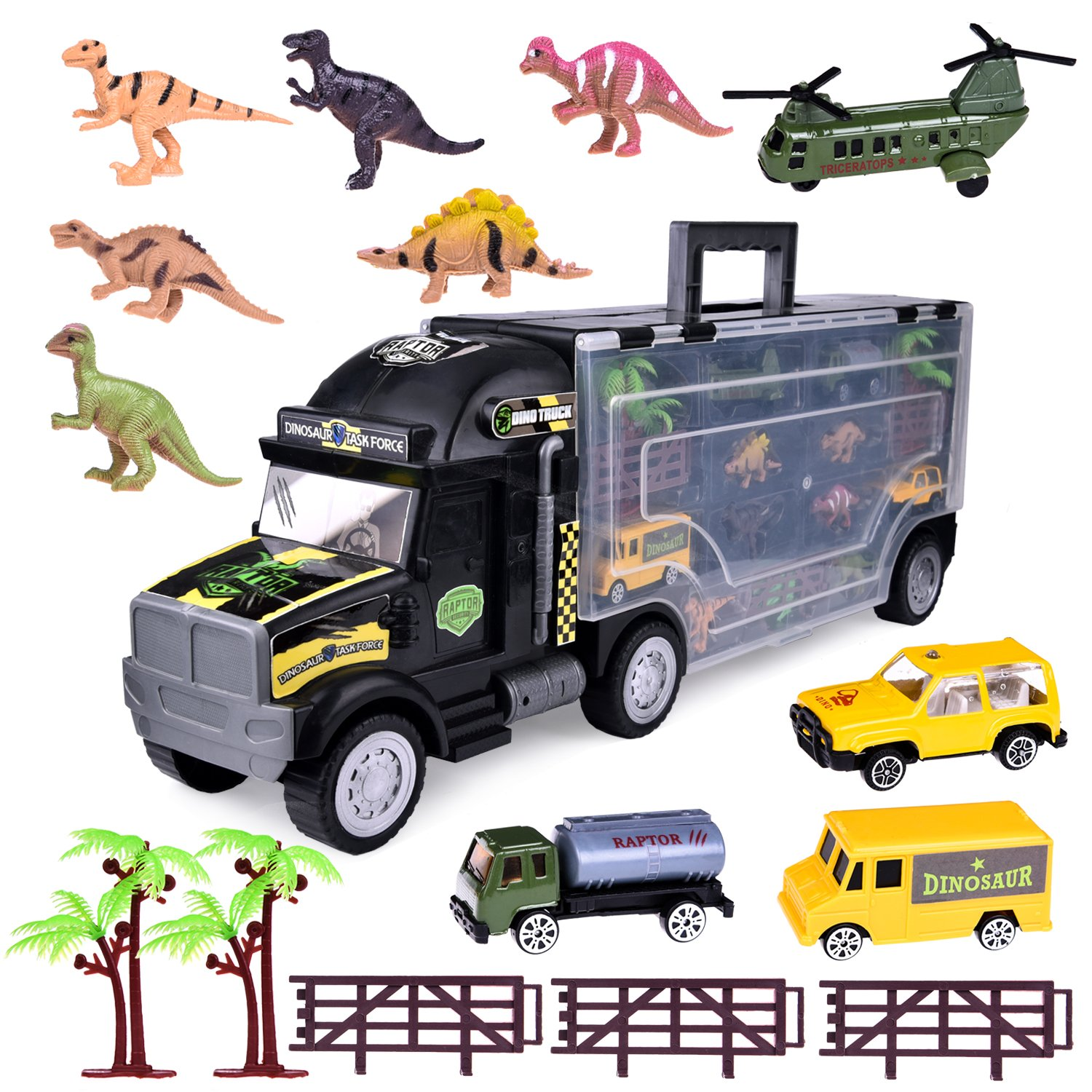 Dinosaur Toys Truck 22 Transport Car Carrier Truck with 6 Mini Dinosaur Figures, Diecast Cars, Airplane, Trees Fences ,Pake of 17 Pieces for Kids Gifts FUN LITTLE TOYS