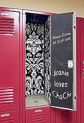 Locker Designz Deluxe Magnetic Locker Wallpaper (Damask Black & White with Chalkboard Door)