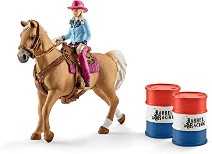 Farm World 41417 SCHLEICH Barrel Racing with Cowgirl Plastic Figure