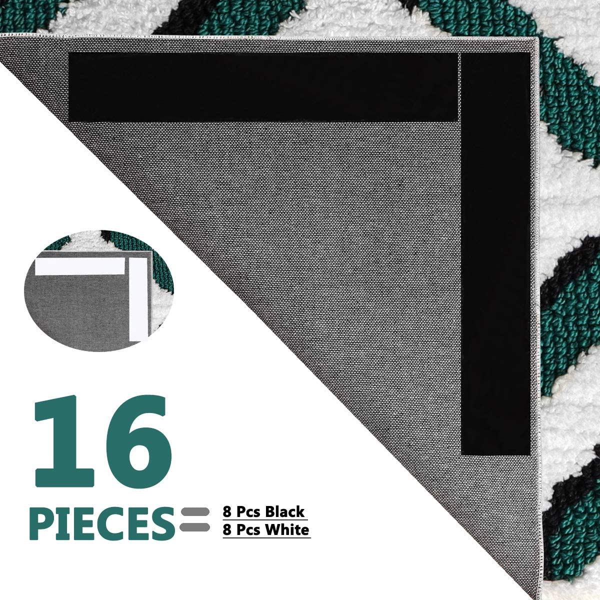 Ultra Sticky Washable Renewable Carpet Tape for Hardwood Floors and Tile Anti Curling Rug Gripper WAEKIYTL 16PCS Reusable Anti Slip Rug Gripper to Keeps Your Rug in Place /& Make Corners Flat
