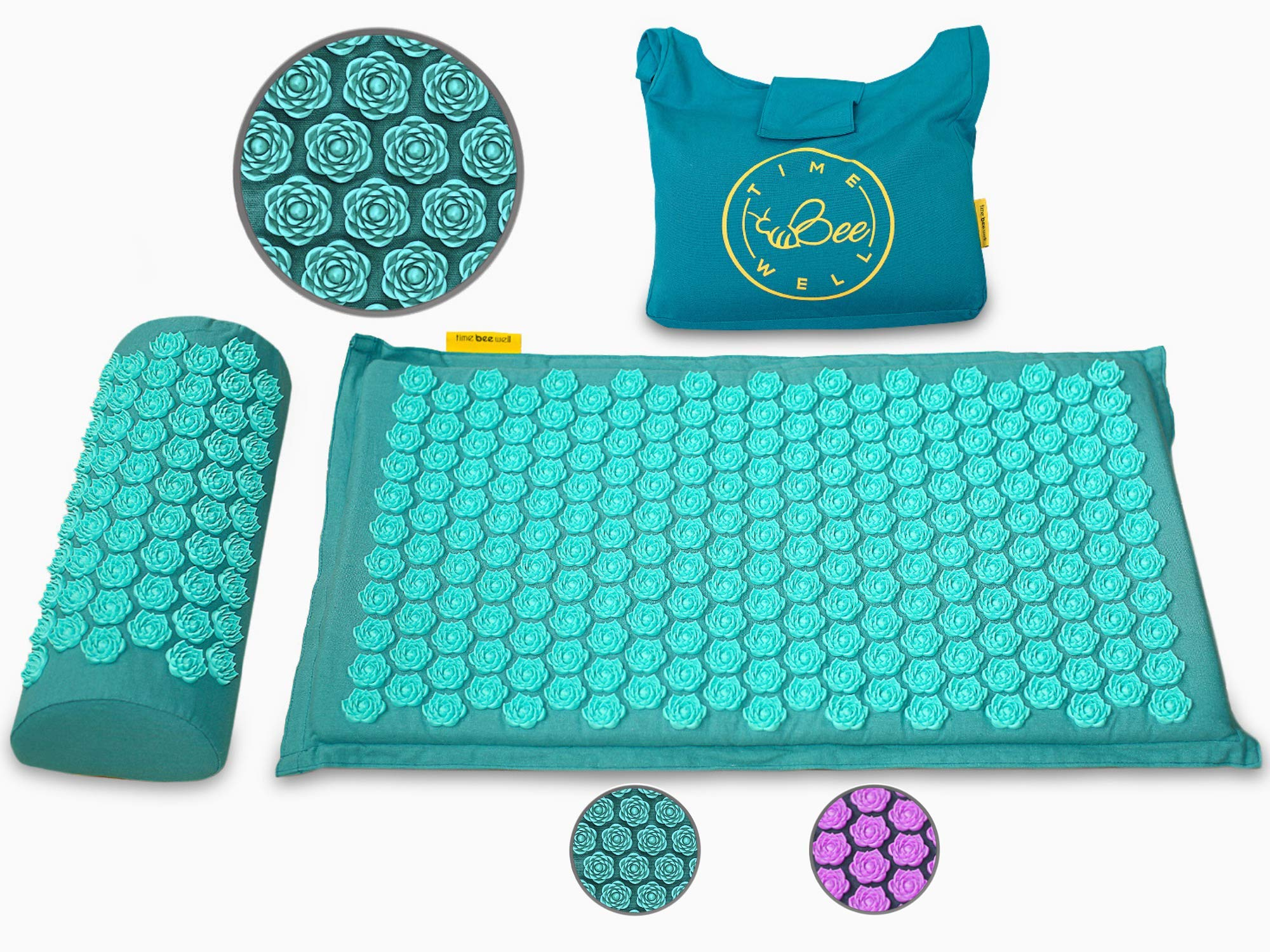 TimeBeeWell Eco-Friendly Back and Neck Pain Relief - Acupressure Mat and Pillow Set - Relieves Stress, Back, Neck, and Sciatic Pain - Comes in a Carry Bag for Storage and Travel by TimeBeeWell