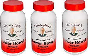 Dr Christopher's Lower Bowel Formula Vegetarian Capsules, 100 Count (Pack of 3)