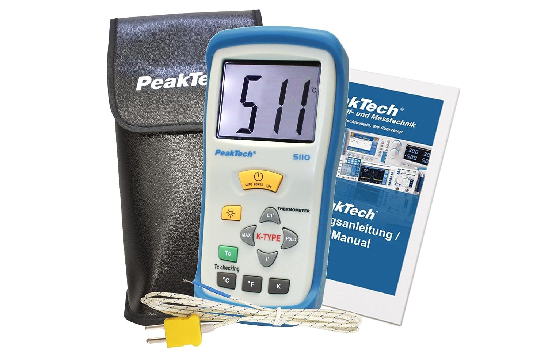 1 St/ück 2000 Counts P 5110 +1300/°C mit Typ-K Temperaturf/ühler PeakTech 1-Kanal Digital-Thermometer -50/°C ..