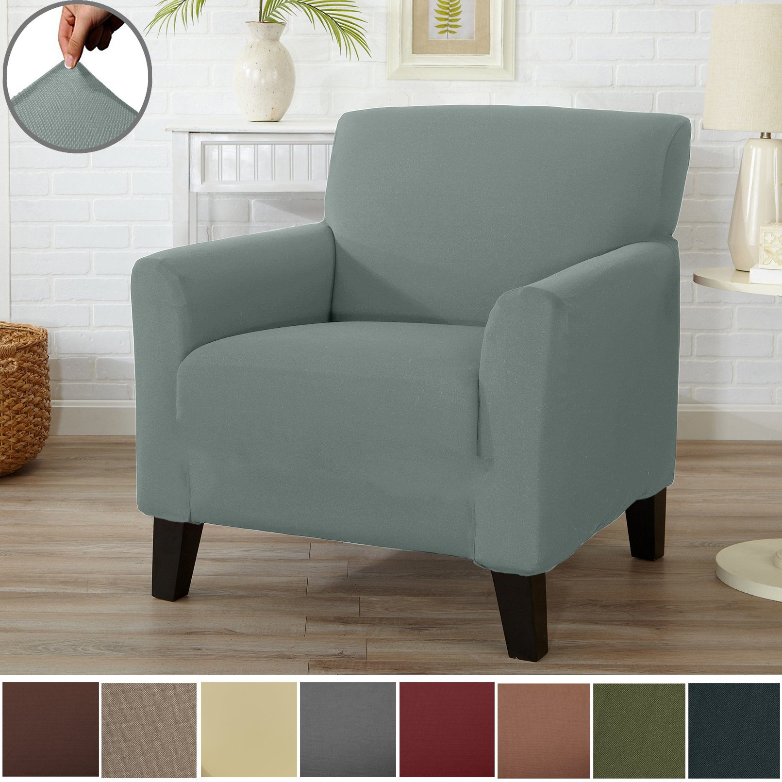 Home Fashion Designs Form Fit Stretch, Stylish Furniture Cover/Protector Featuring Lightweight Twill Fabric. Dawson Collection Basic Strapless Slipcover Brand. (Chair, Harbor Mist)