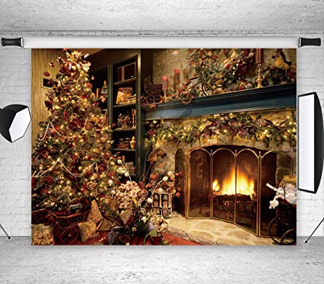 Lb Christmas Backdrops For Photography 7x5ft Poly Fabric Vintage Fireplace And Christmas Tree Photo Backdrops Customized Photo Background Studio Props