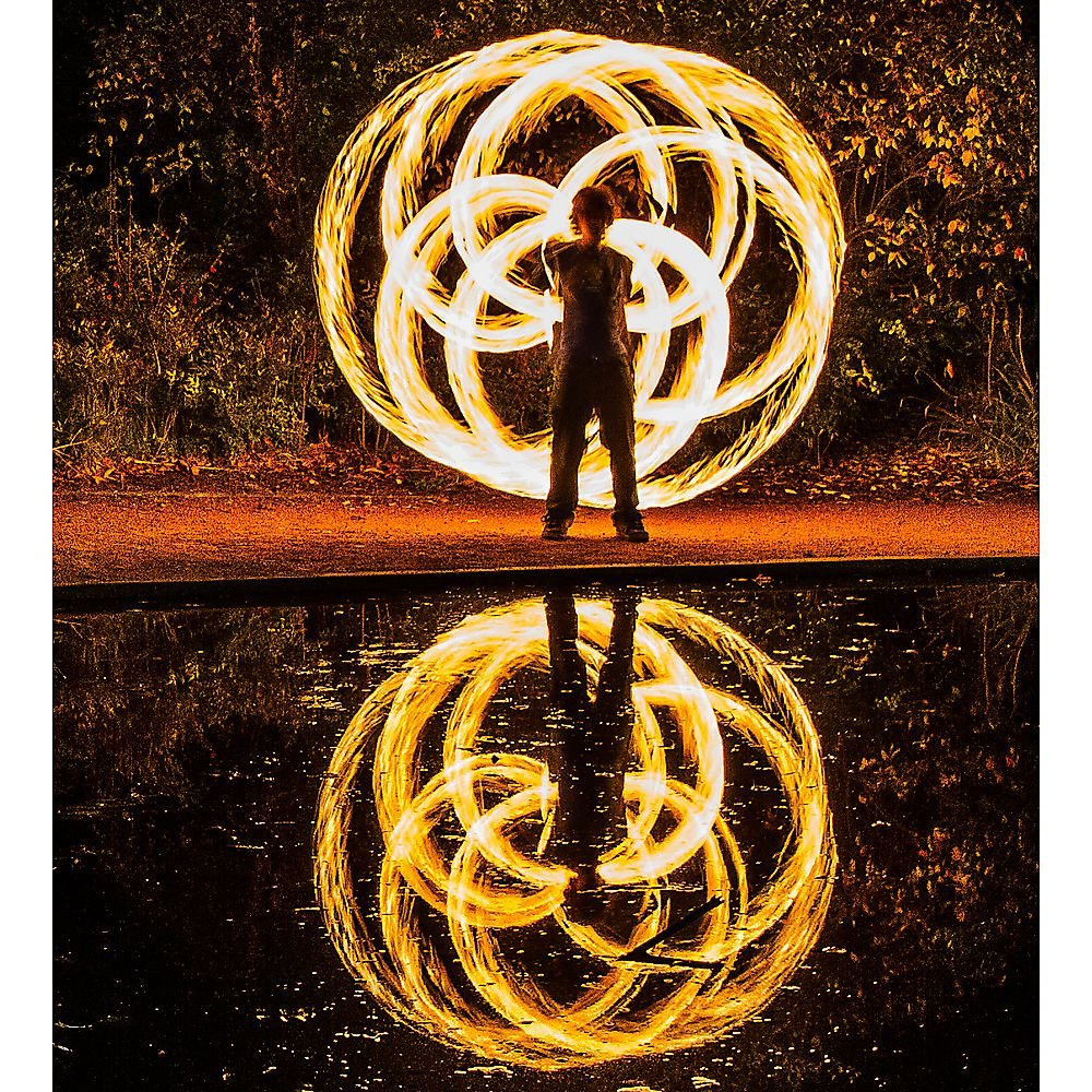 Pair of Pro Chain Block Fire Poi Large - Silver Chain, M - 26 inch (66cm) by Home of Poi (Image #7)