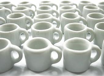 Dolls House Miniature Ceramic Lot 10 White Coffee Mug Tea Cup # L Charms 5381