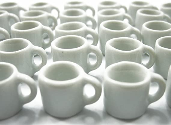 10 Two Tone Red White Ceramic Coffee Mugs Dollhouse Miniatures Kitchen Decor