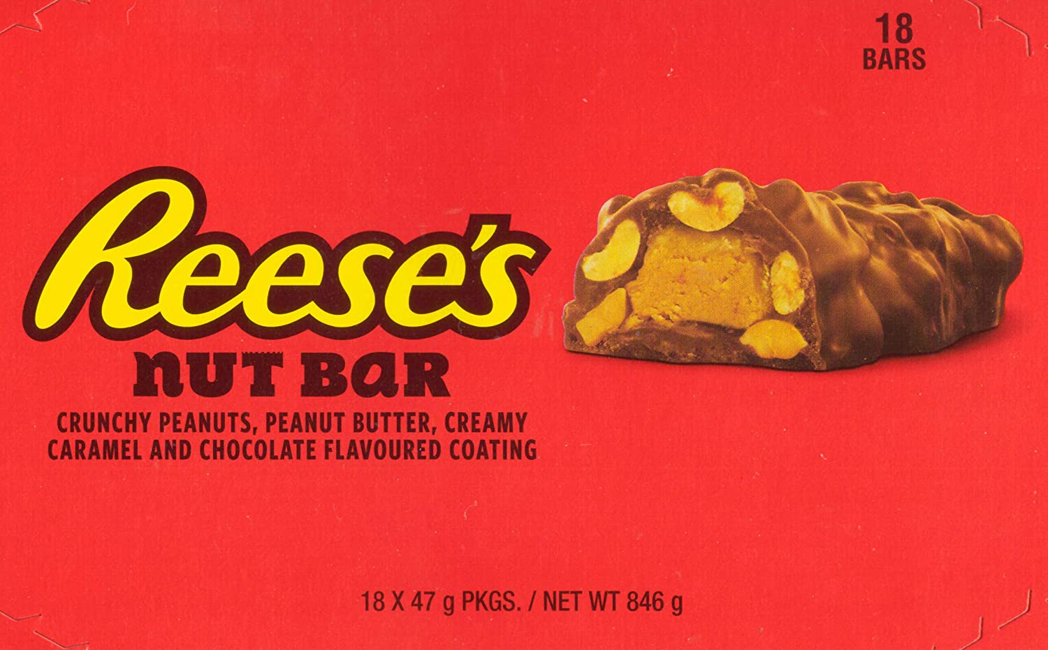 Amazon.com : Reeses Chocolate Peanut Butter Caramel Crunchy Nut Bar Snack   1.65 Ounce (18 Pack) : Grocery & Gourmet Food