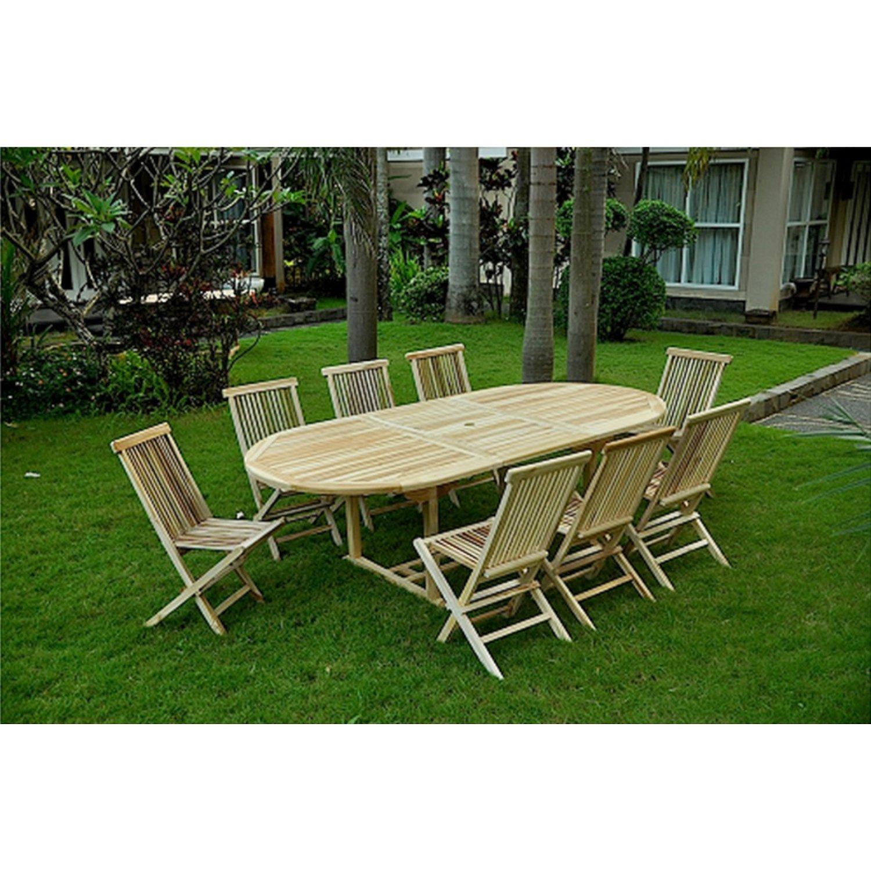 Concept-Usine Oval Kajang 8 - Juego de mesa y 8 sillas de jardín ...